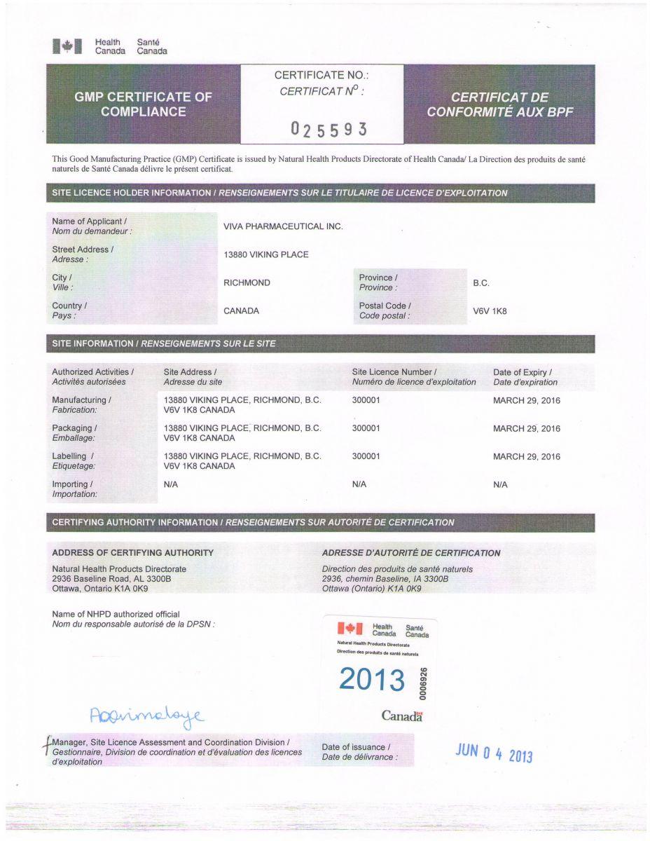Chứng nhận GMP - Bộ y tế Canada sản phẩm UniBrain